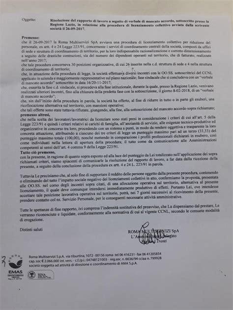 la lettera di licenziamento per i 30 lavoratori di roma