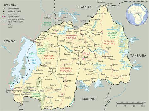 rwanda map ruanda kapital karte