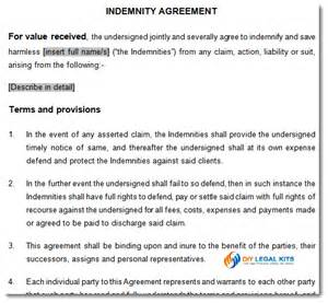 indemnity agreement contract of indemnity