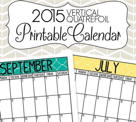 printable calendar 2015 etsy 2015 vertical calendar printable quatrefoil vertical