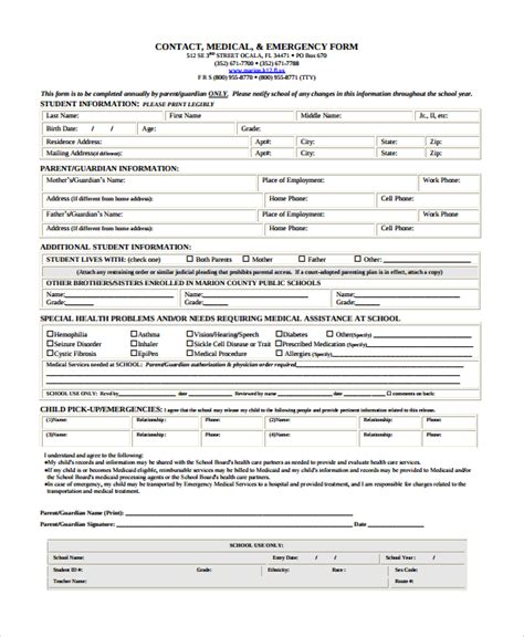 8 Emergency Contact Form Sles Exles Templates Sle Templates In Of Emergency Form Template