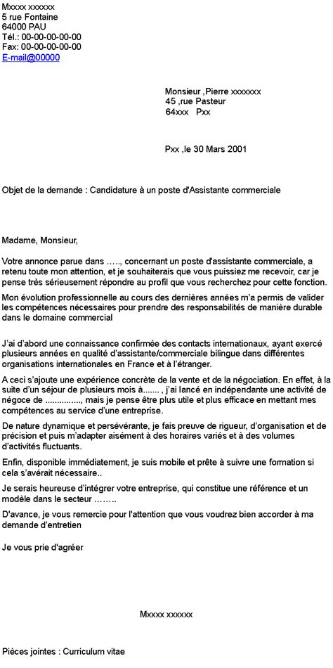 Exemple Lettre De Motivation Candidature Spontanée Organisation Internationale Candidature 224 Un Poste D Assistante Commerciale