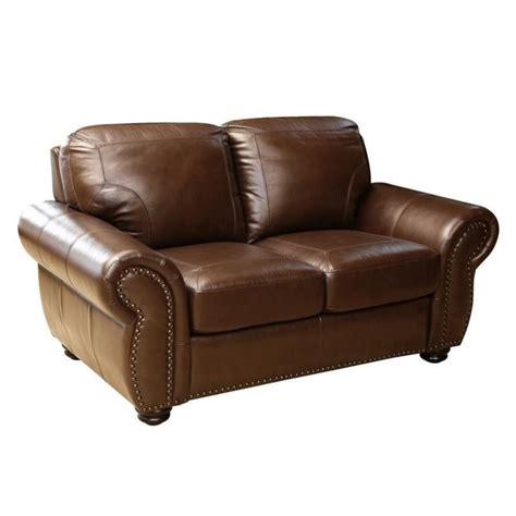 brown loveseat abbyson living elm leather loveseat in brown sk 24602 brn 2