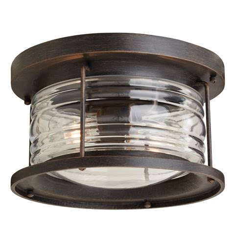 flush mount exterior light shop allen roth stonecroft 12 in w aged bronze outdoor