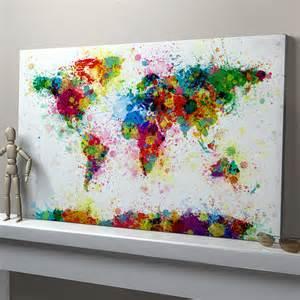 Splatter paint bedroom theme paint splashes world map