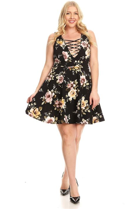 Floral Strappy A Line Dress floral plus size strappy a line cocktail event