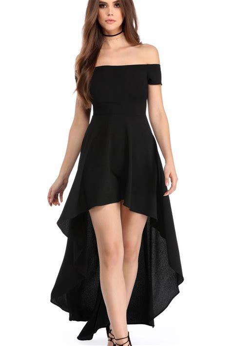robes de soiree courte devant longue derriere noir epaules - Robe Courte Devant Longue Derriere Soiree