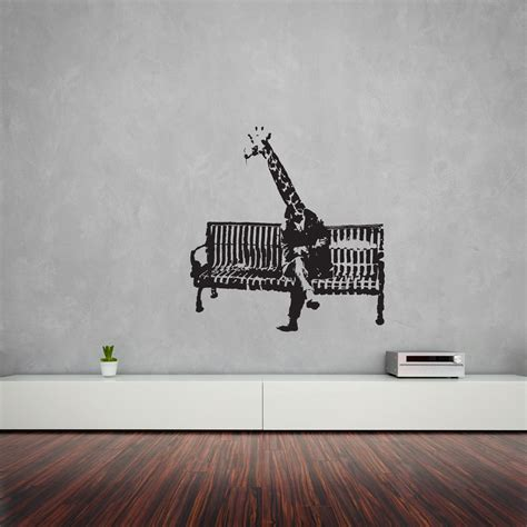 banksy wall stickers banksy giraffe on bench vinyl wall sticker ebay