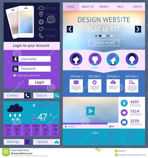 web layout ui kit one page website design template flat ui kit stock vector