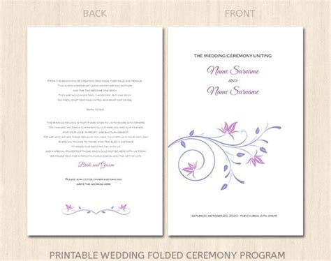 wedding program cover templates items similar to printable wedding program cover template