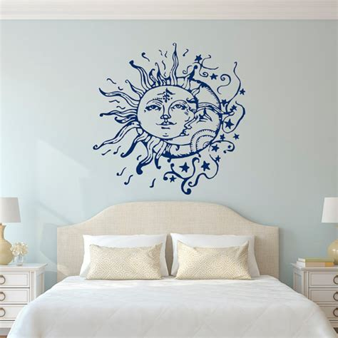 bedroom wall art sun moon stars wall decals for bedroom sun and moon wall