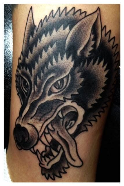 black and grey traditional tattoo wolf tattoo lucky devil tattoo