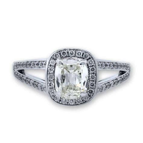 18k white gold cushion cut split shank engagement ring