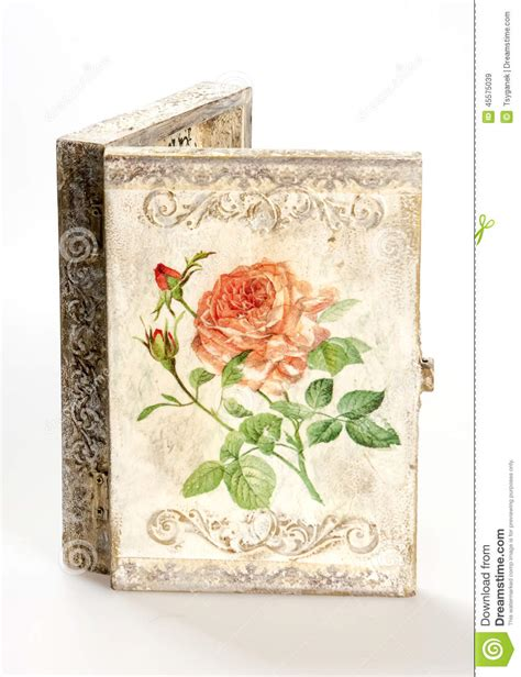 Decoupage Techniques - a box decorated in decoupage technique stock image image