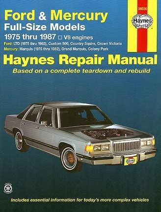 manual repair autos 1987 ford ltd crown victoria instrument cluster crown victoria ltd marquis repair manual 1975 1987 haynes