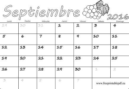 Calendario Septiembre 2016 Para Imprimir Gratis | calendario 2016 de septiembre blanco imprimir el pdf gratis