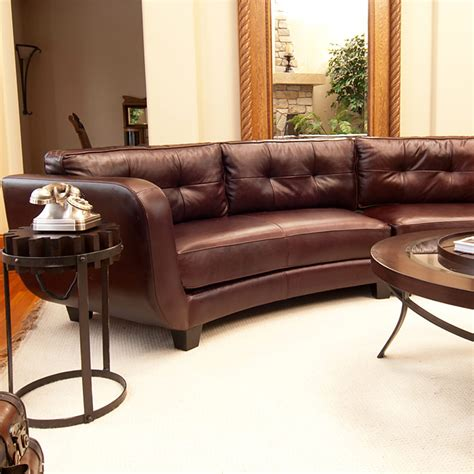 leather curved sectional vittorio mahogany top grain leather curved sectional dcg
