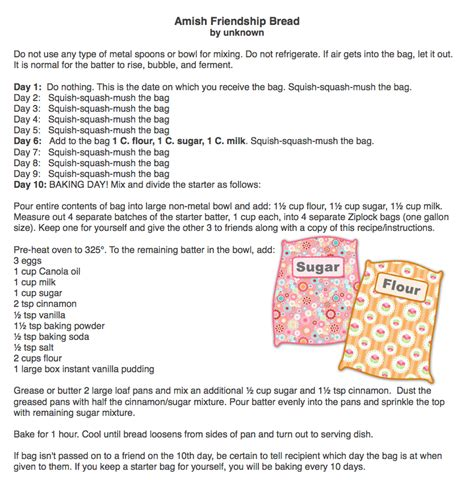 printable directions for amish friendship bread 301 moved permanently