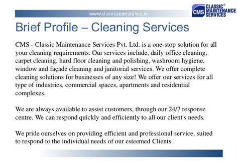 Brief Company Introduction Letter classic maintenance services pvt ltd presentation