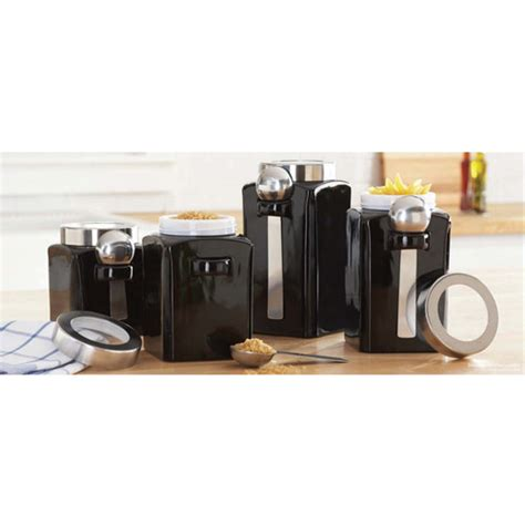 Black Ceramic Kitchen Canisters 4 Canister Set Black Walmart