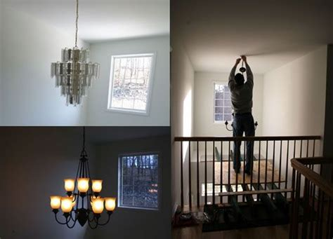 how to hang lights on stairs diy scaffolding to hang foyer light staircase