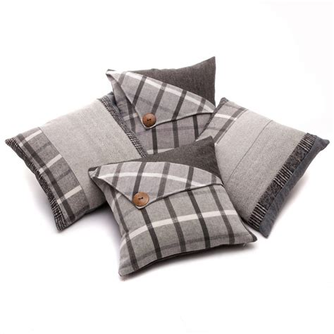 As A Button Patchwork - set of 4 tartan button patchwork stripe grey black 18