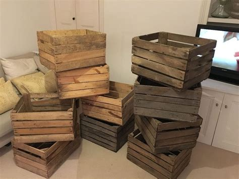 holiday wood storage box ideas boxes vintage farm shop style wooden slatted crate storage box display ebay