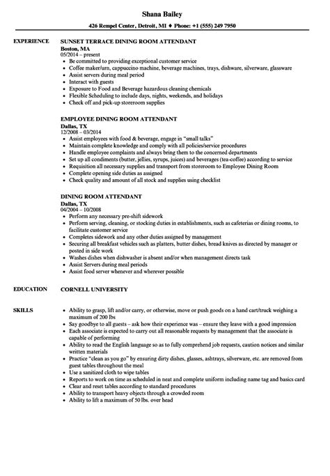 Dining Room Attendant Cover Letter by Dining Room Attendant Sle Resume Sle Engineering Internship Cover Letter