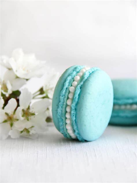 tiffany blue macarons  orange blossom buttercream