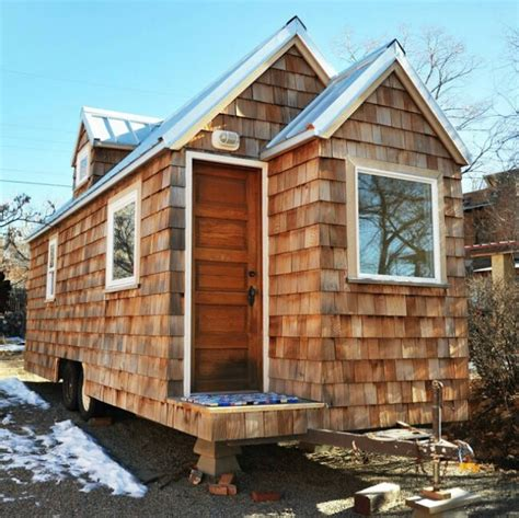 uniquer cedar shake covered tiny house from colorado tiny