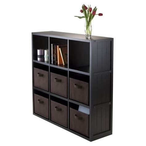 Wainscoting Shelf by 7pc 3x3 Wainscoting Shelf With 6 Baskets In Black 20642