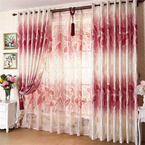 red faux silk curtains printing and jacquard red leaves faux silk curtains