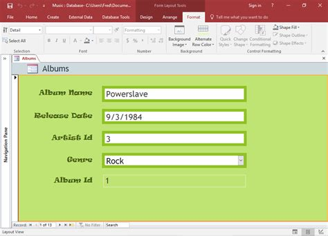 layout for view access 2016 create a form