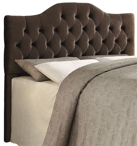 velvet king headboard headingley brown velvet king headboard from coaster