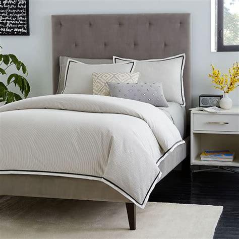 narrow bed narrow leg upholstered bed frame dove gray west elm