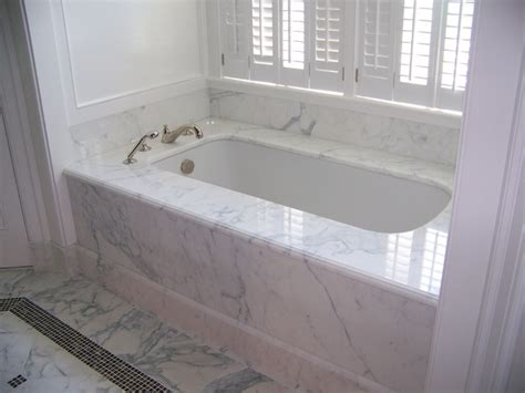 bathtub deck ideas calacatta marble 1 piece tub deck tub skirt