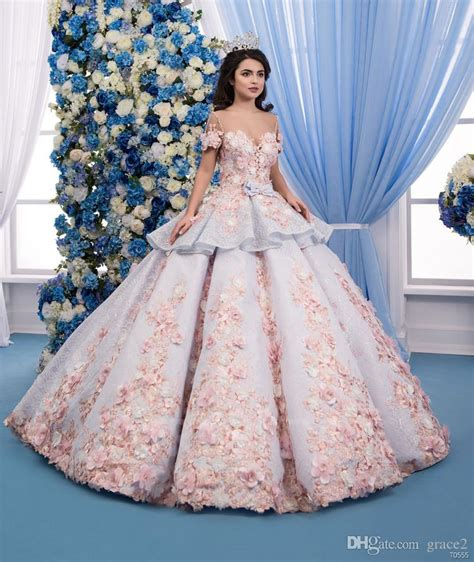 Ohome Pajangan 3d Poly Dress In Blue Decor Ev Sp 3914 B 3d floral wedding dresses 2018 with sleeves and peplum gown colorful