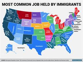 how many towns are in the us most common jobs held by immigrants in each us state all about america