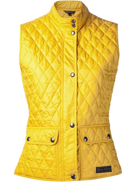 belstaff quilted weskit vest in yellow yellow orange