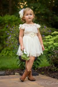 Looking stylish and cute lace flower girl dresses with cowboy boots