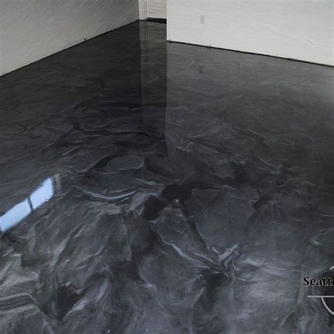 Designer Metallic Epoxy Basement Floor   Basement flooring