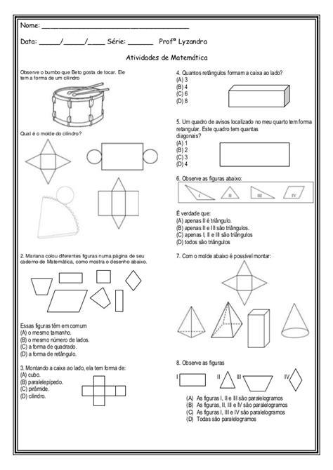 figuras geometricas atividades 4o ano atividades espa 231 o e forma