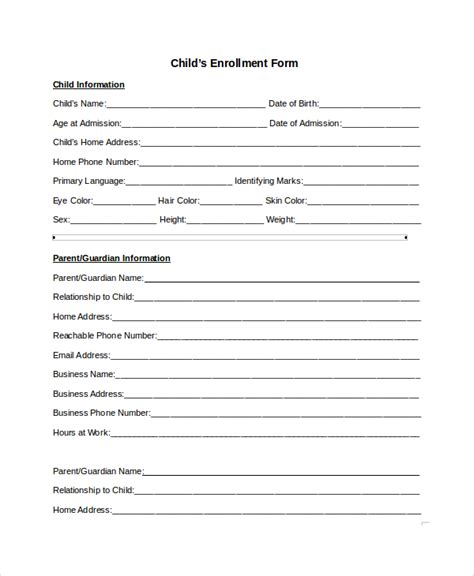 child care enrollment form template sle enrollment form 8 documents in pdf word