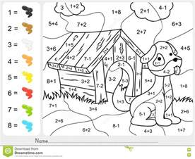 color by addition paint color by addition and subtraction numbers stock
