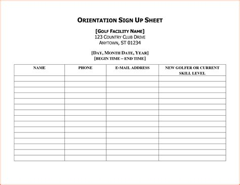 idea sheet template sign up sheet template pages template exles ideas