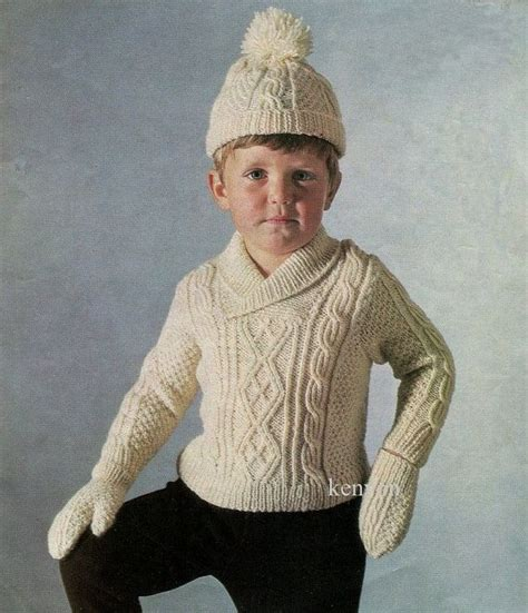 fisherman knitting pattern instant aran sweater hat and mittens knitting
