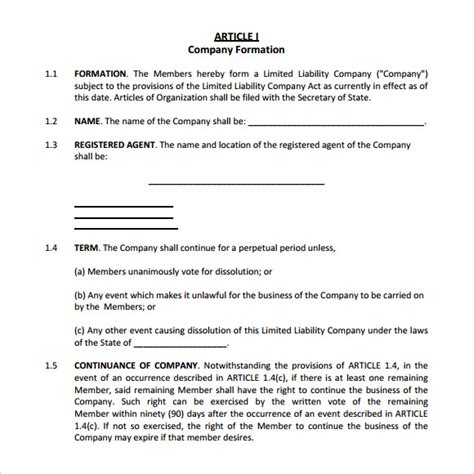 Sle Operating Agreement 9 Exles Format Operating Agreement For Single Member Llc Template
