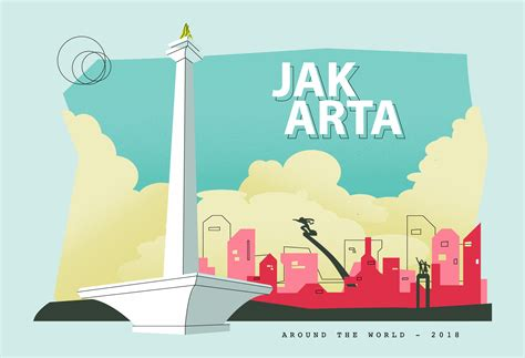 jakarta capital city  indonesia postcard vector