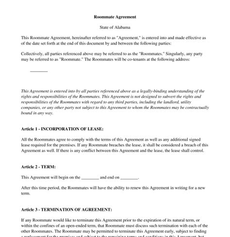 roommate agreement template word roommate agreement free template word pdf