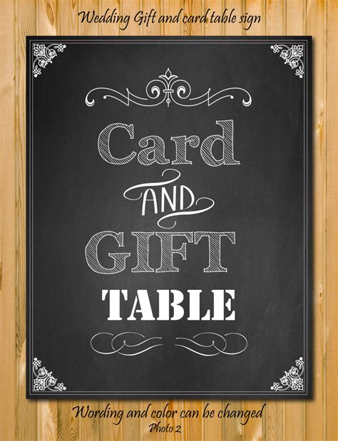 Card And Gift Table Sign - card and gift table sign custom wedding sign by chalkboarddesign
